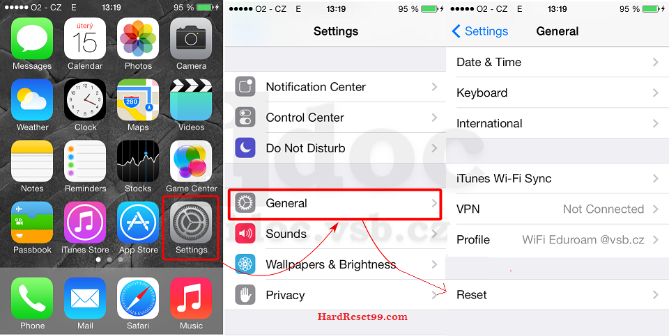 Apple Factory reset - settings general reset option