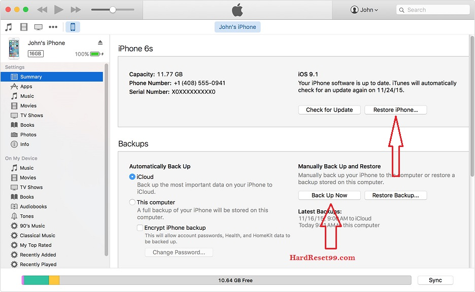 Apple iPhone 3G S itunes Hard reset restore