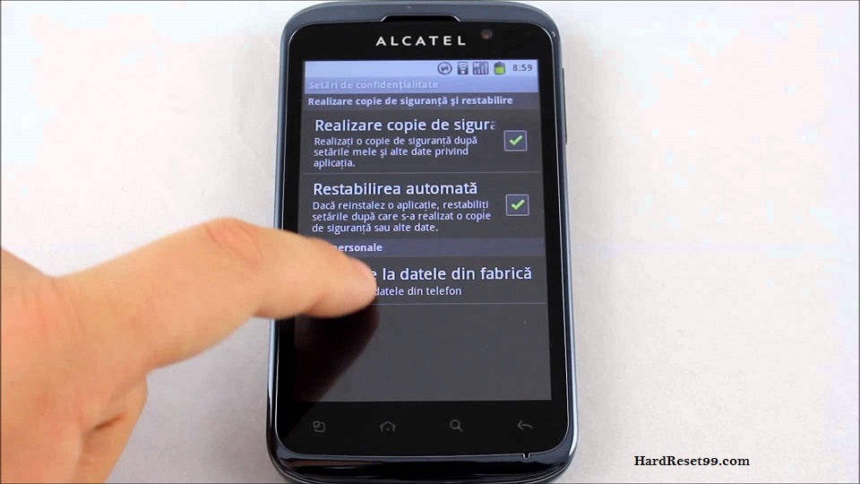 Alcatel OT 991 Play Hard reset, Factory Reset and Password Recovery