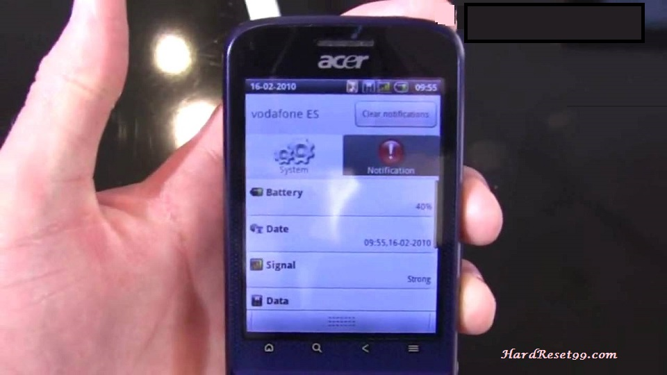 Acer beTouch E110 Hard reset, Factory Reset and Password Recovery