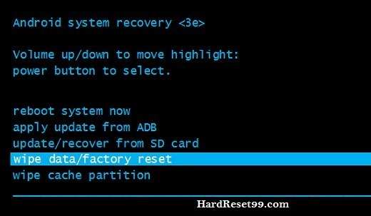 Wipe data/factory reset from recovery mode