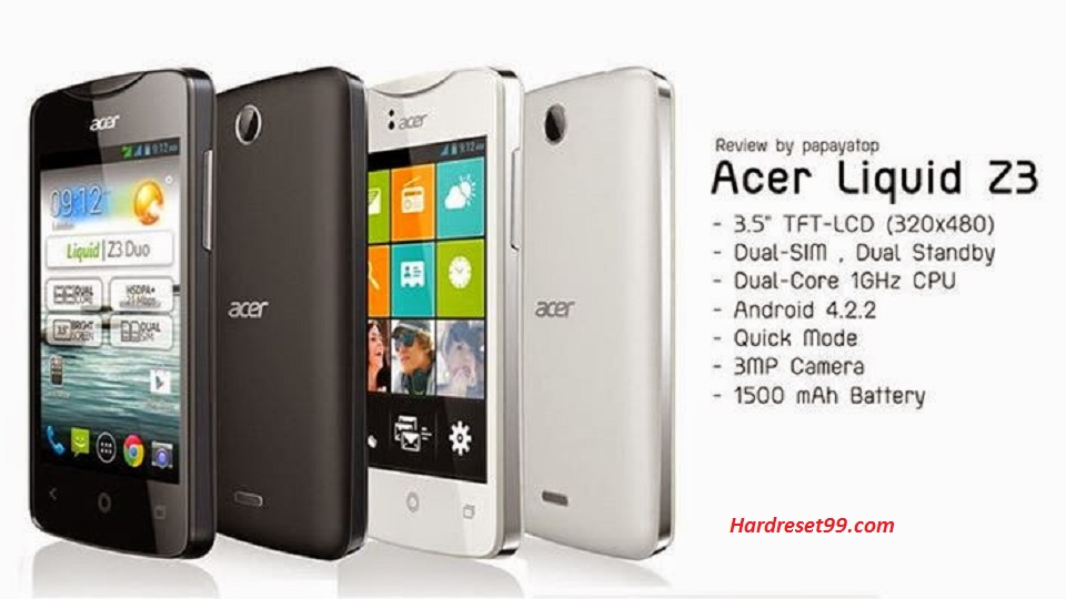 ACER Liquid Z3 Z130 Hard reset, Factory Reset and Password Recovery