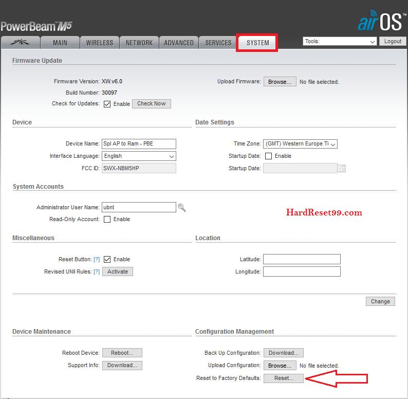 Ubiquiti airOS system tab for Reset